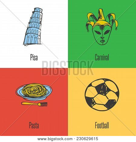 Italian National, Cultural, Political, Culinary, Sports Symbols. Venetian Carnival Mask, Pisa Tower,