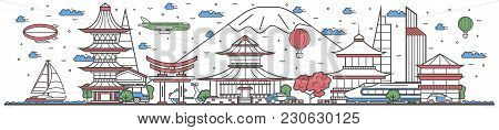Travel In Japan Country Banner  Illustration. Worldwide Traveling Concept With Famous Modern And Anc