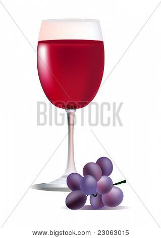 Glass of red wine and grape. Raster version. Vector version is in my gallery.