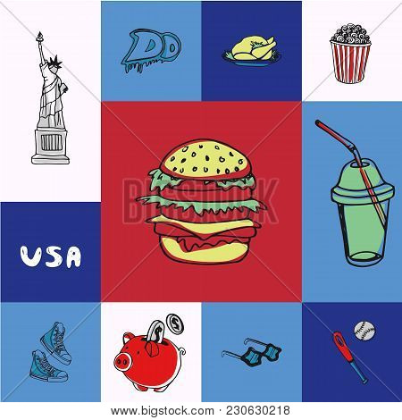 Checkered Concept In American National Colors With Country Related Symbols. Hamburger, Graffiti, Tur