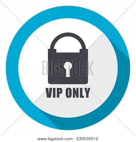 Vip only blue flat design web icon