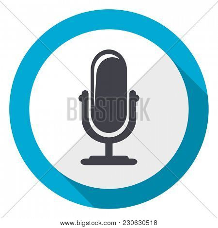 Microphone podcast blue flat design web icon