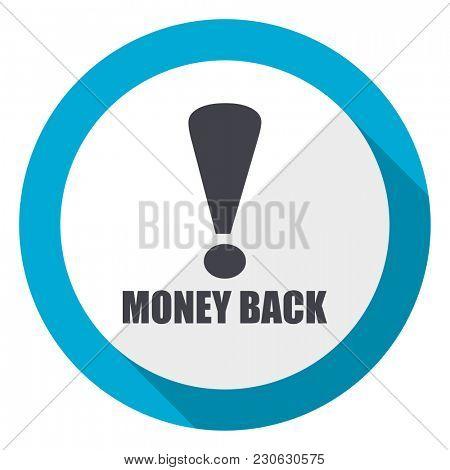 Money back blue flat design web icon