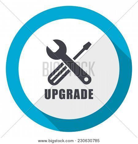 Upgrade blue flat design web icon
