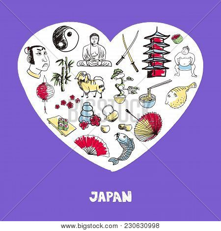 Love Japan. Dotted Heart Filled With Colored Doodles Associated With Japanese Nation  Illustrations