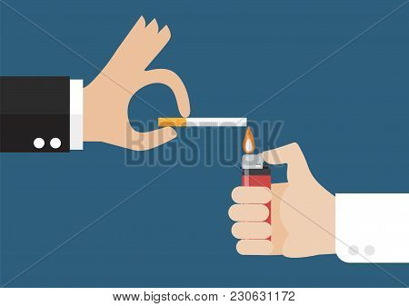 Hand With The Lighter And The Smoker's Hand With A Cigarette