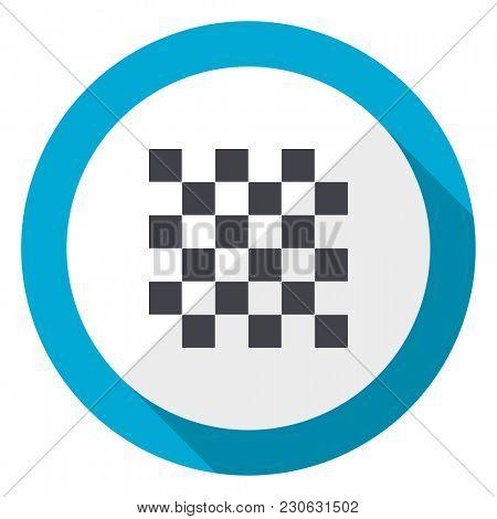 Chess blue flat design web icon