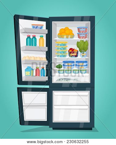Refrigerator Full Of Food. Opened Fridge Filled With Daily Products  Illustration. Saving Freshness