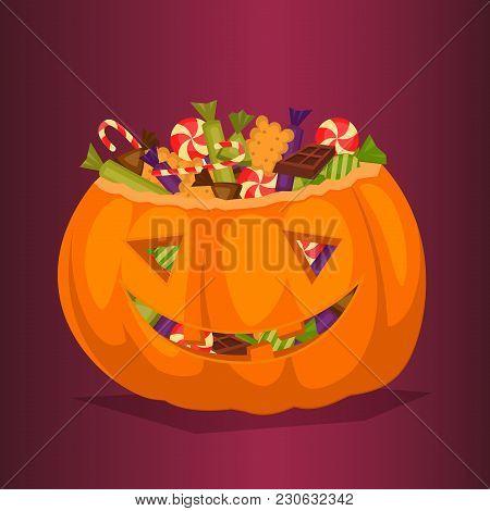 Halloween Pumpkin Full Of Candy Treats. Cartoon Pumpkin. Symbol Of Halloween Design Concept. All Hal
