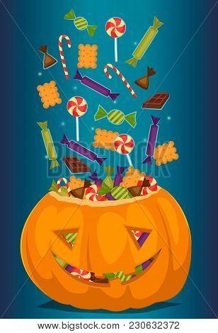 Halloween Pumpkin Full Of Candy Treats. Cartoon Pumpkin. Symbol Of Halloween Design Concept. Beggars