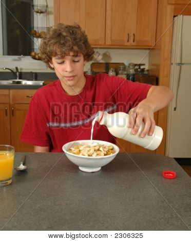 Boy Having Cereal For Brekfast