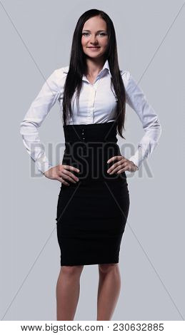 Portrait of smiling business woman isolated on white background