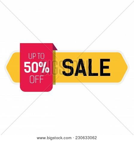 Big Sale, Up To Fifty Percent Off Lettering On Yellow Ribbon. Inscription Can Be Used For Leaflets,