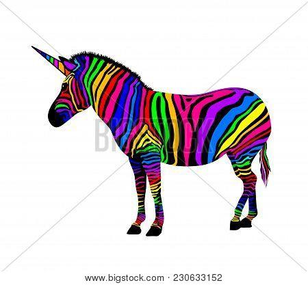Colorful Zebra. Unicorn Zebra, Vector Illustration Isolated On White Background.