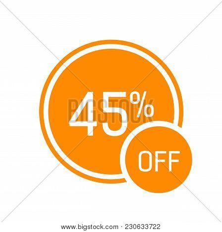 Forty Five Percent Off Lettering In Frame On Orange Circles. Inscription Can Be Used For Leaflets, P