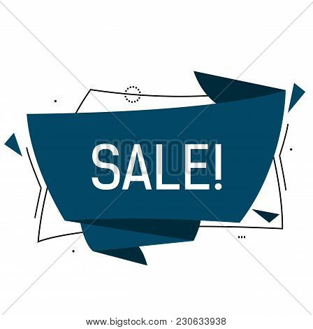 Sale Lettering In Blue Origami Speech Bubble With Triangles. Inscription Can Be Used For Leaflets, P