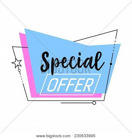 Special Offer Lettering In Blue Abstract Shape. Inscription Can Be Used For Signs, Leaflets, Posters