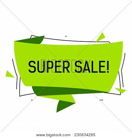 Super Sale Lettering In Green Origami Speech Bubble With Triangles. Inscription Can Be Used For Leaf