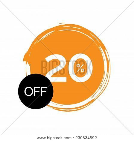 Twenty Percent Off Lettering In Painted Orange Circle. Inscription Can Be Used For Leaflets, Posters