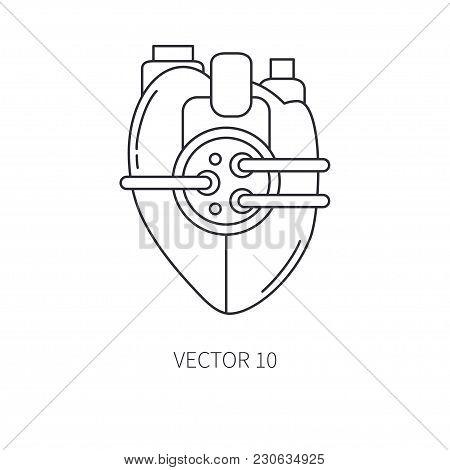 Bionic Heart Prosthesis Line Icon. Bionic Prosthesis. Biotechnology Futuristic Medicine. Future Tech