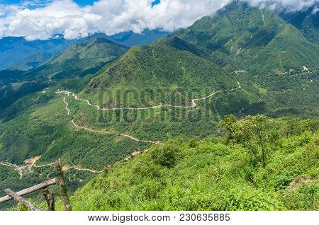 Mountain Valley On Summer Day Nature Background. Haven Gate, Vietnam
