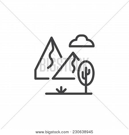 Rocky Landscape With Mountains, Tree And Cloudy Sky Outline Icon. Linear Style Sign For Mobile Conce