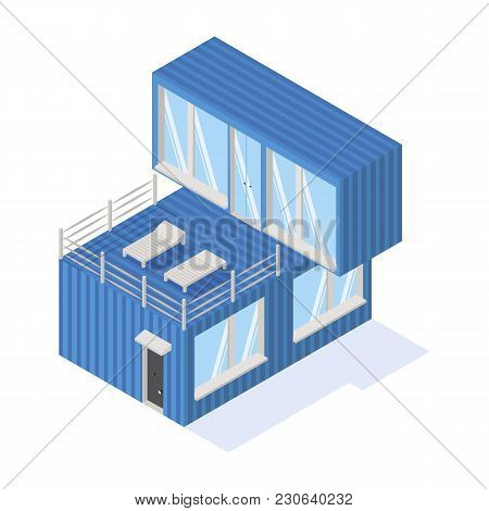 Containers House Isometric Icon With Panoramic Windows Isolated On A White Background