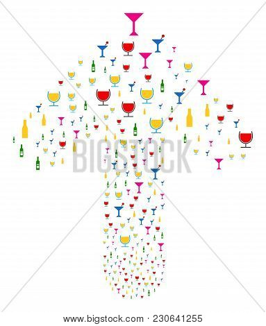 Alcohol Bar Drinks Pattern Created In The Shape Of Forward Pointer Arrow. Upwards Direct Arrow Figur