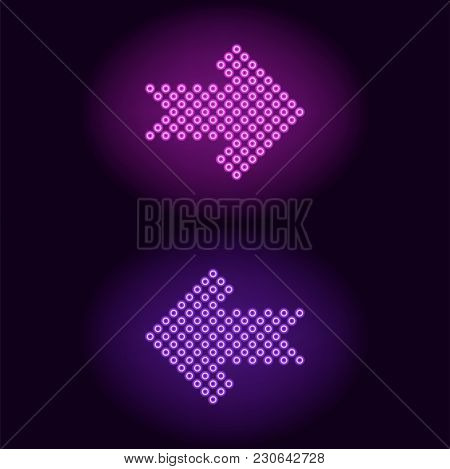 Purple And Violet Neon Arrow With Rings. Vector Illustration Of Short Neon Arrow Consisting Of Many