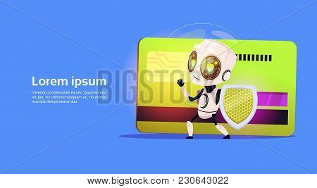 Robot Standing Over Credit Card Hold Firewall Payment Protection Security Concept Banner With Copy S
