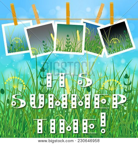 Concept Summer. Sky, Blur, Meadow With Herbs. Summer Photos On Clothespins On A Rope. You Can Insert