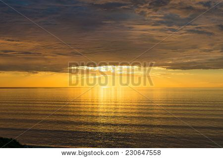 Picturesque Sea Sunset Background With Spectacular Cloudscape