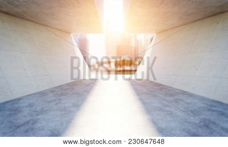 concrete modern architecture background 3d rendering image