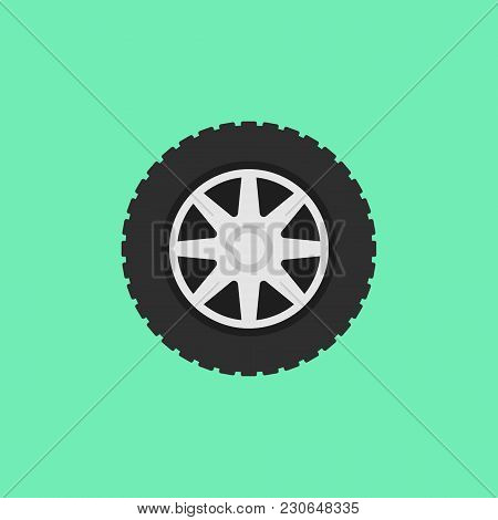 Car Flat Wheel With Tire Vector Icon Or Design Element On Green Background