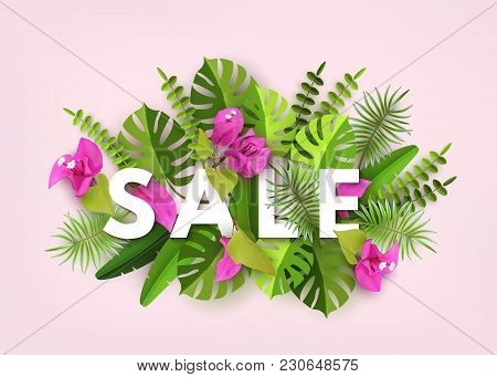 Summer Sale, Trendy Tropical Leaves, Plants Flowers Bougainvillea. Green Abstract Background With Tr
