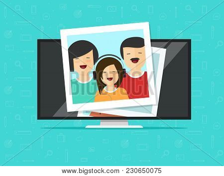 Tv Flat Screen With Photo Cards Vector Illustration, Flat Cartoon Computer Lcd Monitor Or Led Televi