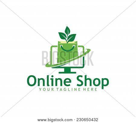 On Screen Green Online Shop Vector Logo Design