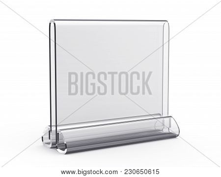 Acrylic Stand Mockup, 3d Render Transparent Table Stand, Stand Square