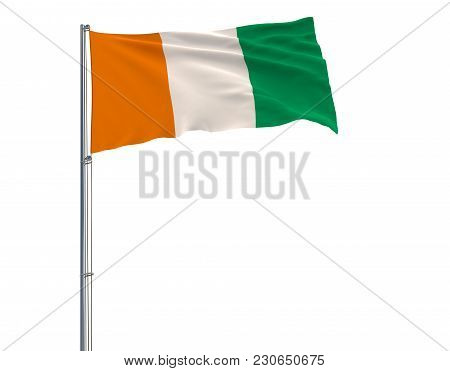 Flag Of Ivory Coast On Flagpole Fluttering In The Wind On White Background, 3d Rendering