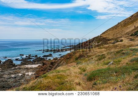Marine Landscape Of Sea And Hill On Sunny Day. Nature Background