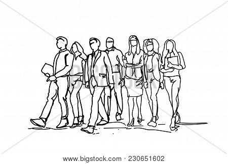 Group Of Hand Drawn Business People Walking Forward, Sketch Businesspeople Team Of Professionals On