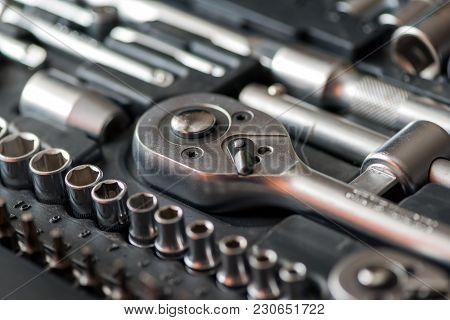 Set Of Tools For Car Repair In Box