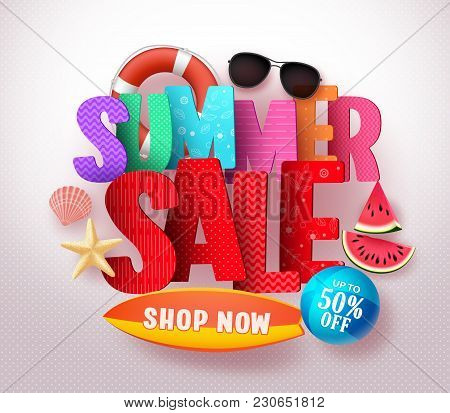 Summer Sale Vector Banner Design With Colorful 3d Sale Text And Beach Elements In White Background F