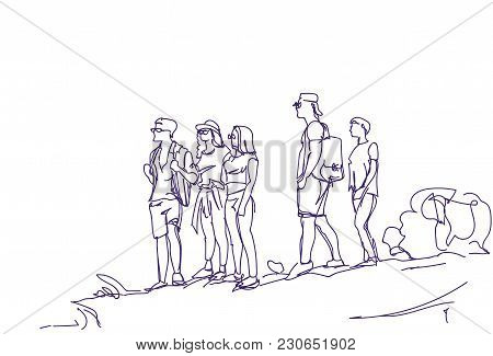 Sketch Group Of Travelers People With Backpacks Hand Drawn Abstract Hikers Tourists Team Vector Illu