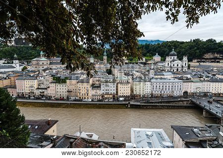 Salzburg, Austria - August 6, 2017:  Cityscape Of Salzburg From Kapuzinerberg Hill At Sunset