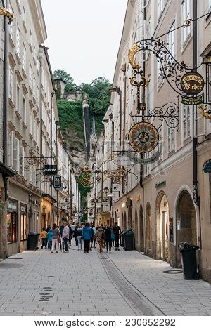 Salzburg, Austria - August 6, 2017: Getreidegasse. Scenic Cityscape Of Historical City Centre Of Sal
