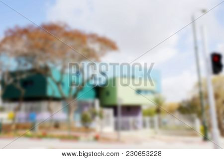 Abstract Blurred Background. Blurred  Large Buildings In The Background