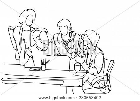 Creative Team Brainstorming Doodle Business Men Discuss New Ideas, Plan And Strategy At Meeting Vect