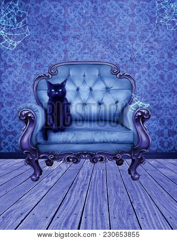 A Premade Background Of A Black Cat Sitting In A Blue Chair In A Witches Room.