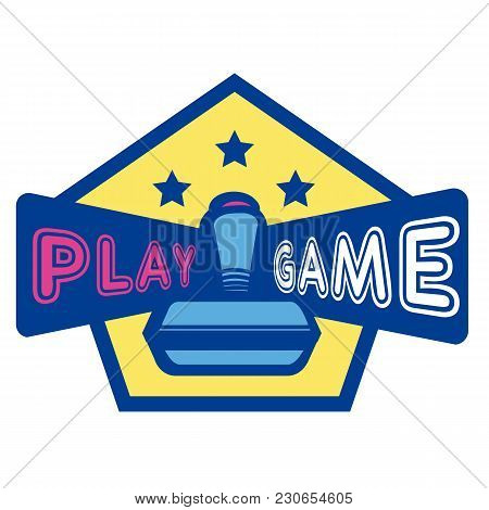 Play Game Joystick Three Star Hexagon Frame Background Vector Image